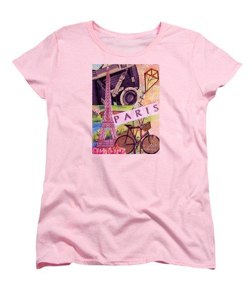Women's T-Shirt (Standard Cut) featuring the drawing Paris  by Eloise Schneider