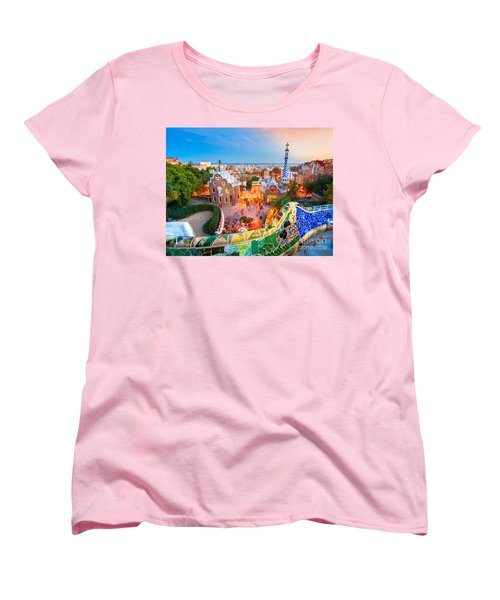 Park Guell In Barcelona - Spain Women's T-Shirt (Standard Cut) by Luciano Mortula