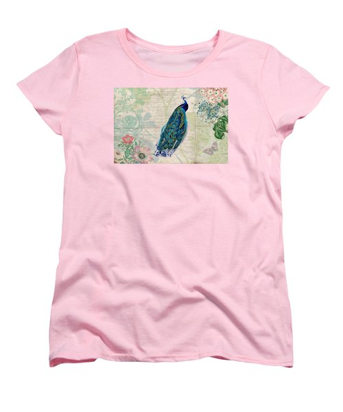 Women's T-Shirt (Standard Cut) featuring the digital art Peacock And Botanical Art by Peggy Collins