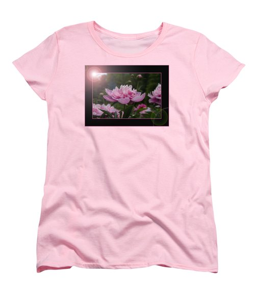 Women's T-Shirt (Standard Cut) featuring the photograph Peony Garden Sun Flare by Patti Deters