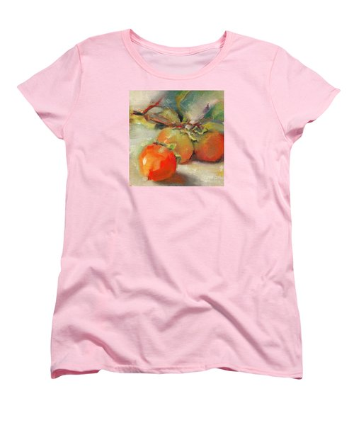 Women's T-Shirt (Standard Cut) featuring the painting Persimmons by Michelle Abrams