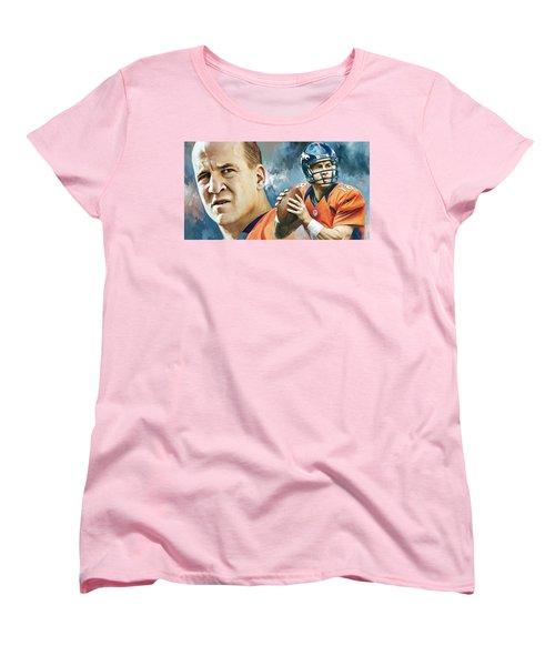 Peyton Manning Artwork Women's T-Shirt (Standard Cut) by Sheraz A