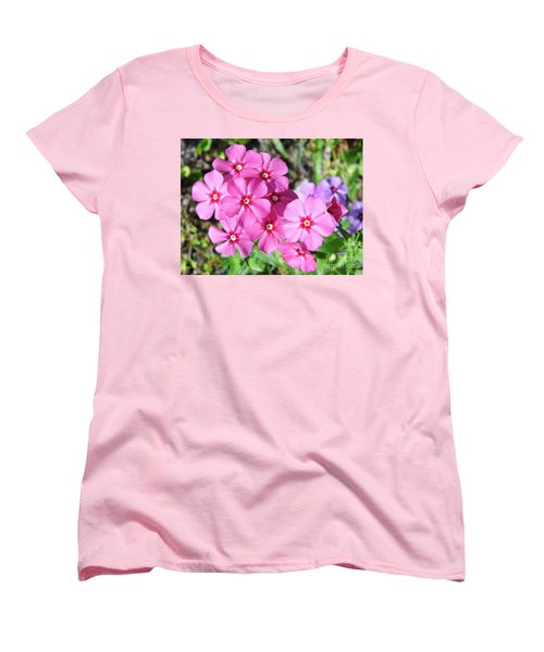 Women's T-Shirt (Standard Cut) featuring the photograph Phlox Beside The Road by D Hackett