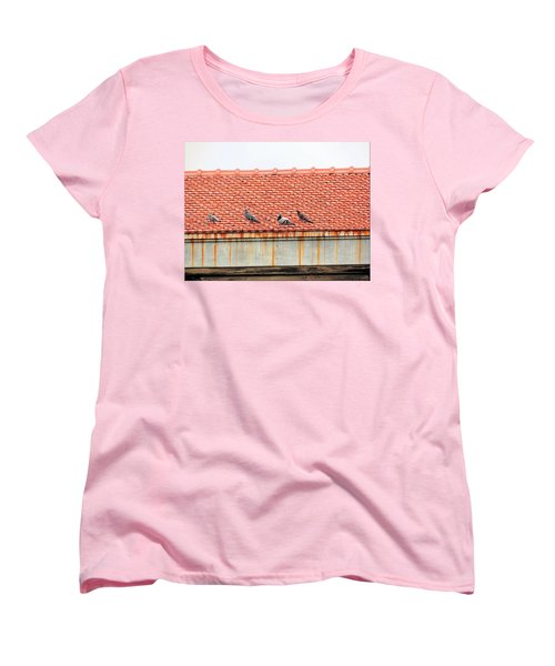 Women's T-Shirt (Standard Cut) featuring the photograph Pigeons On Roof by Aaron Martens