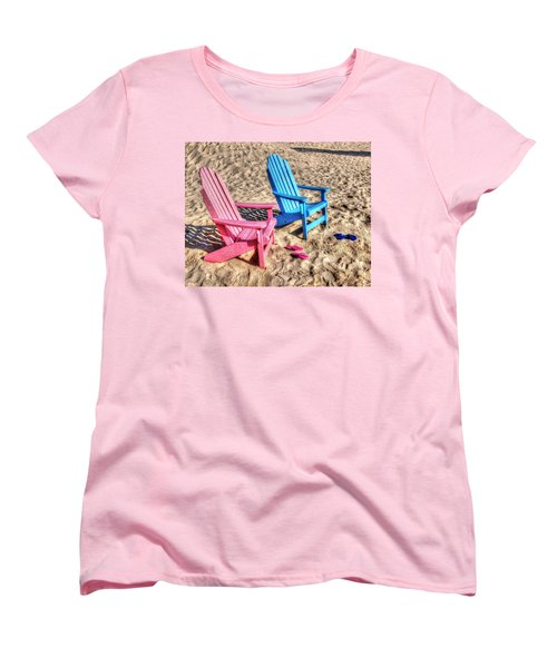 Pink And Blue Beach Chairs With Matching Flip Flops Women's T-Shirt (Standard Cut) by Michael Thomas