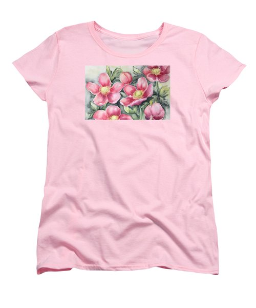 Women's T-Shirt (Standard Cut) featuring the painting Pink Anemones by Inese Poga
