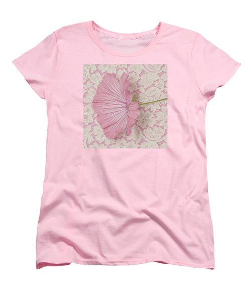 Pink Lavatera Blossom On Vintage Lace - Macro Women's T-Shirt (Standard Cut) by Sandra Foster