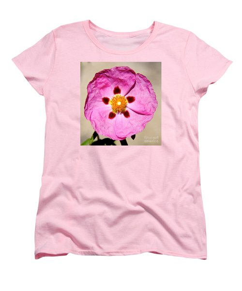 Pink Rock Rose Women's T-Shirt (Standard Cut) by Suzanne Oesterling