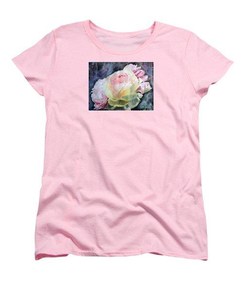 Pink Yellow Rose Angela Women's T-Shirt (Standard Cut) by Greta Corens