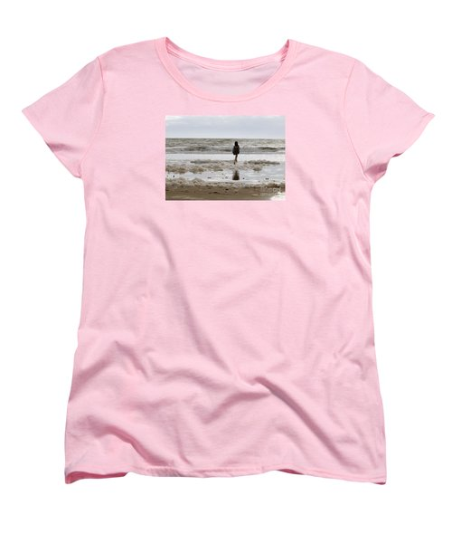 Women's T-Shirt (Standard Cut) featuring the photograph Girl Playing In Sea Foam by Haleh Mahbod