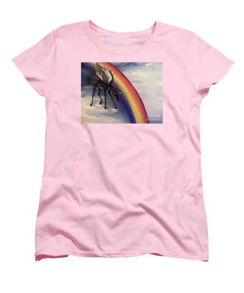 Women's T-Shirt (Standard Cut) featuring the painting Playing With Rainbow by Karen  Ferrand Carroll