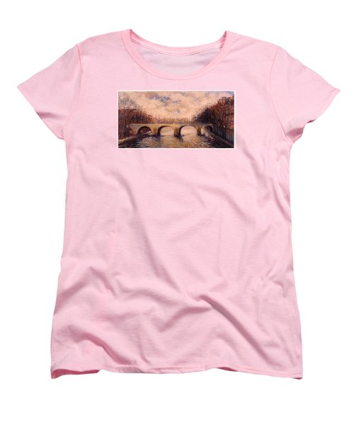 Women's T-Shirt (Standard Cut) featuring the painting Pont Sur La Seine by Walter Casaravilla