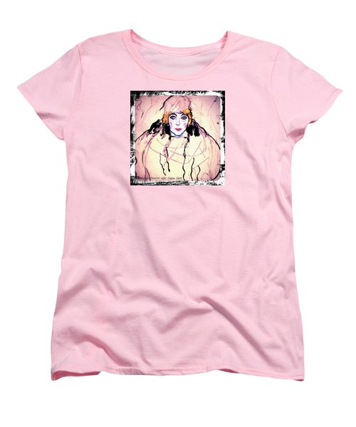 Portrait Of A Lady En Face After Gustav Klimt Women's T-Shirt (Standard Cut) by Anna Porter