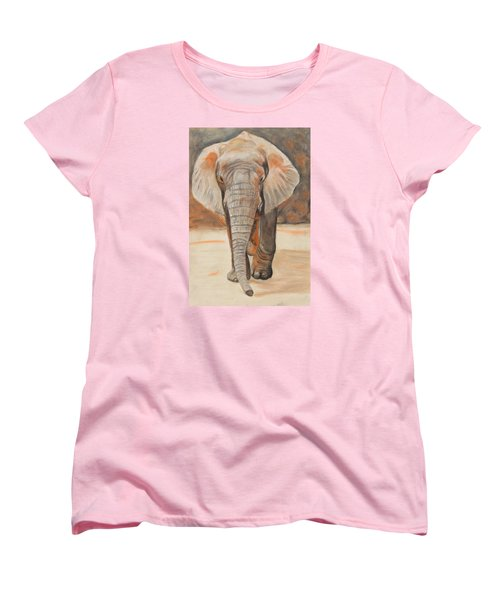 Women's T-Shirt (Standard Cut) featuring the painting Portrait Of An Elephant by Jeanne Fischer