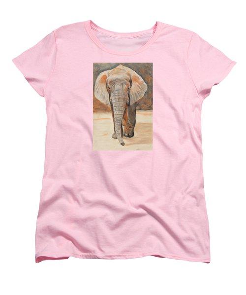 Portrait Of An Elephant Women's T-Shirt (Standard Cut) by Jeanne Fischer