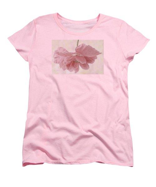 Women's T-Shirt (Standard Cut) featuring the photograph Pretty Pink Poppy Macro by Sandra Foster