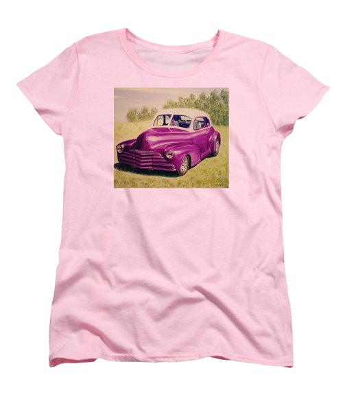 Women's T-Shirt (Standard Cut) featuring the painting Purple Chevrolet by Stacy C Bottoms