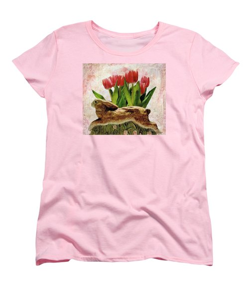 Rabbit And Pink Tulips Women's T-Shirt (Standard Cut) by Janette Boyd