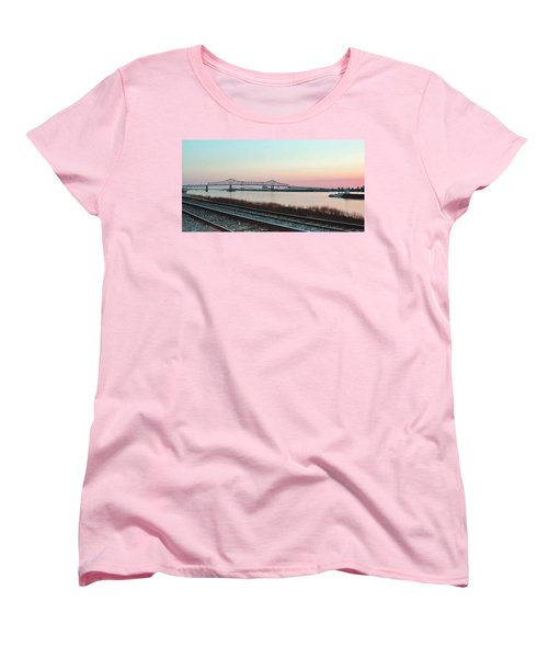 Women's T-Shirt (Standard Cut) featuring the photograph Rail Along Mississippi River by Charlotte Schafer