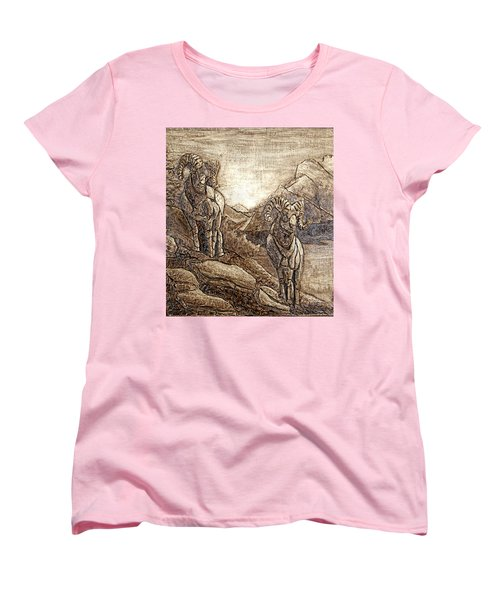 Women's T-Shirt (Standard Cut) featuring the relief Rams Relief by Wendy McKennon