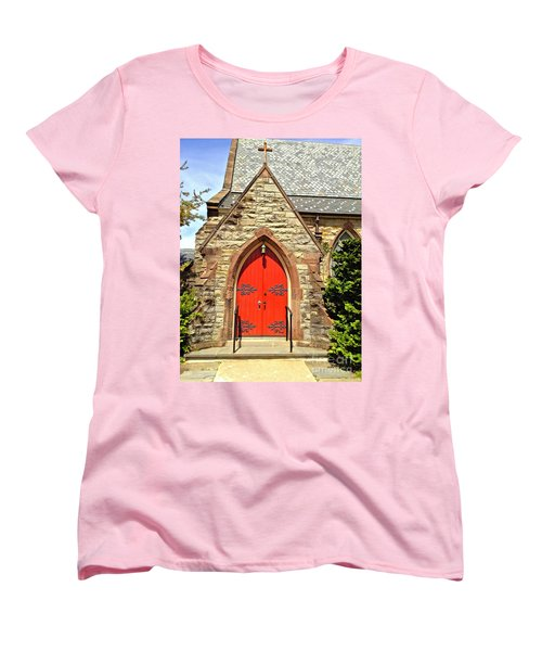 Women's T-Shirt (Standard Cut) featuring the photograph Red Arch Church Door 1 by Becky Lupe