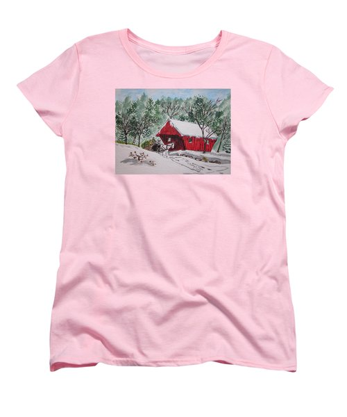 Red Covered Bridge Christmas Women's T-Shirt (Standard Cut) by Kathy Marrs Chandler