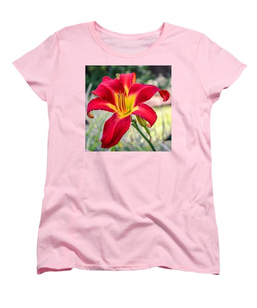 Women's T-Shirt (Standard Cut) featuring the photograph Red Daylily by Rob Sellers