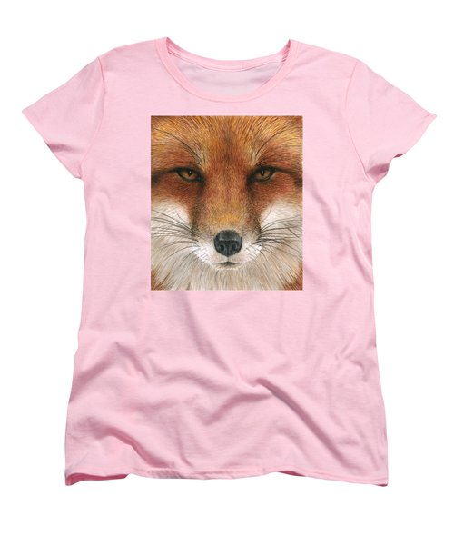 Red Fox Gaze Women's T-Shirt (Standard Cut) by Pat Erickson
