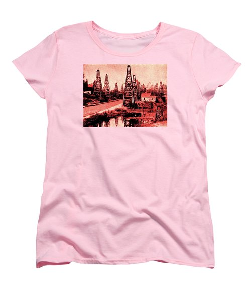 Women's T-Shirt (Standard Cut) featuring the drawing Red Indiana Oil Wells Circa 1900 by Peter Gumaer Ogden