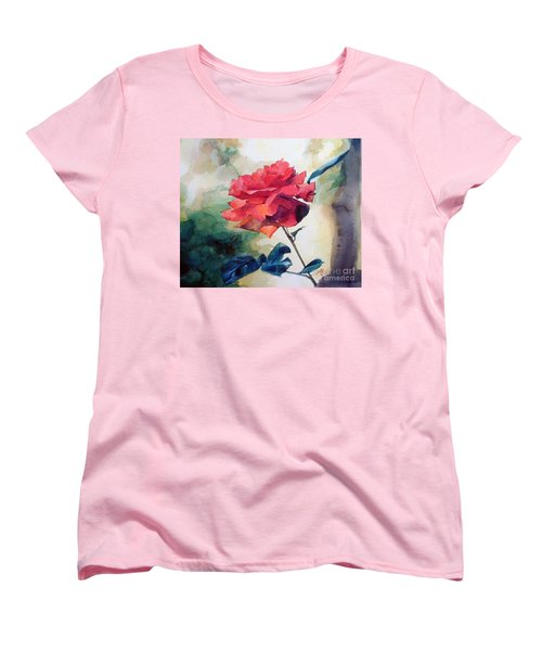Women's T-Shirt (Standard Cut) featuring the painting Red Rose On A Branch by Greta Corens