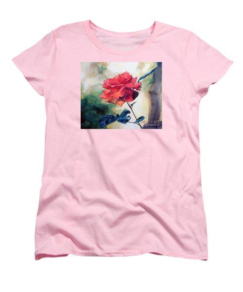 Red Rose On A Branch Women's T-Shirt (Standard Cut) by Greta Corens