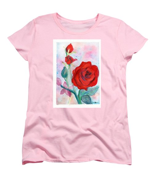 Red Roses Women's T-Shirt (Standard Cut) by C Sitton