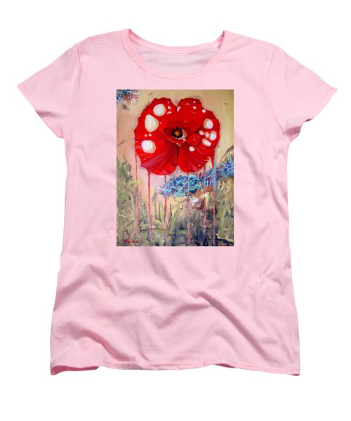 Women's T-Shirt (Standard Cut) featuring the painting Red Weed Red Poppy by Daniel Janda