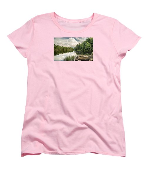 Women's T-Shirt (Standard Cut) featuring the photograph Reflection Lake In New York by Debbie Green
