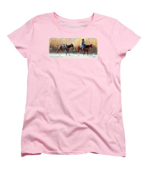 Women's T-Shirt (Standard Cut) featuring the photograph Rio Grande Cowboy by Barbara Chichester