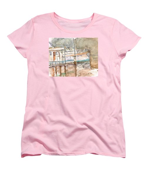 Women's T-Shirt (Standard Cut) featuring the painting River Boat  by Teresa White