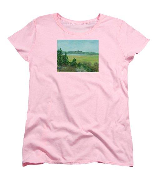 Rural Landscape Art Original Colorful Oil Painting Swan Lake Oregon  Women's T-Shirt (Standard Cut) by Elizabeth Sawyer