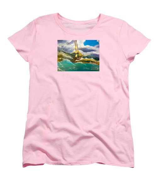 Women's T-Shirt (Standard Cut) featuring the painting Sailing Ship In A Storm by Pamela  Meredith
