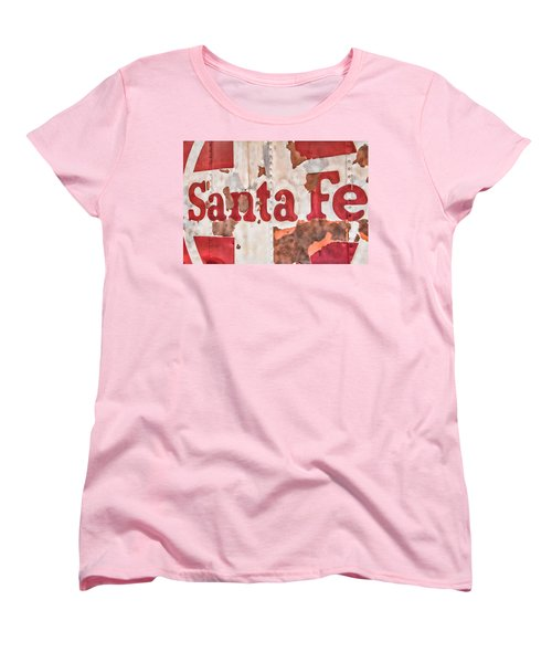 Santa Fe Vintage Railroad Sign Women's T-Shirt (Standard Cut) by Steven Bateson