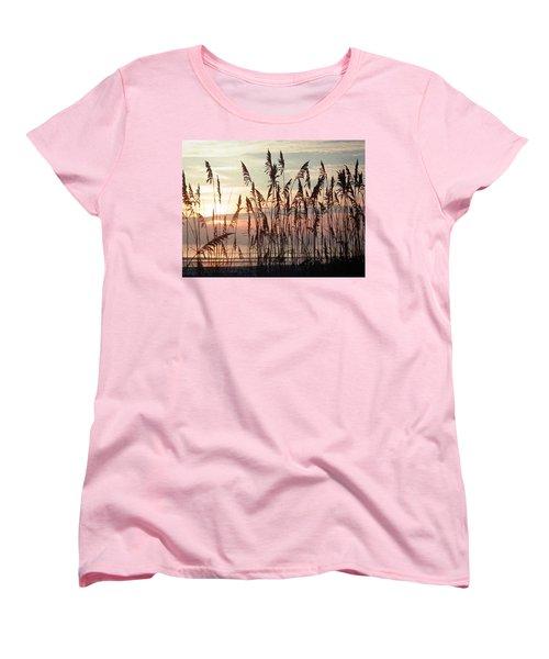 Fabulous Blue Sea Oats Sunrise Women's T-Shirt (Standard Cut) by Belinda Lee