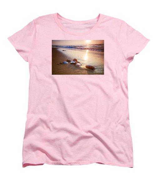 Sea Shells On Sand Women's T-Shirt (Standard Cut) by Michal Bednarek