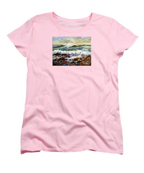 Women's T-Shirt (Standard Cut) featuring the painting Seawall by Lee Piper