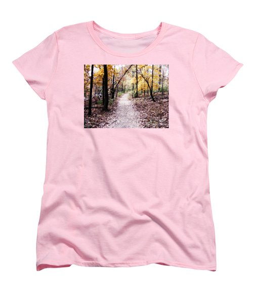 Women's T-Shirt (Standard Cut) featuring the photograph Serenity Walk In The Woods by Peggy Franz