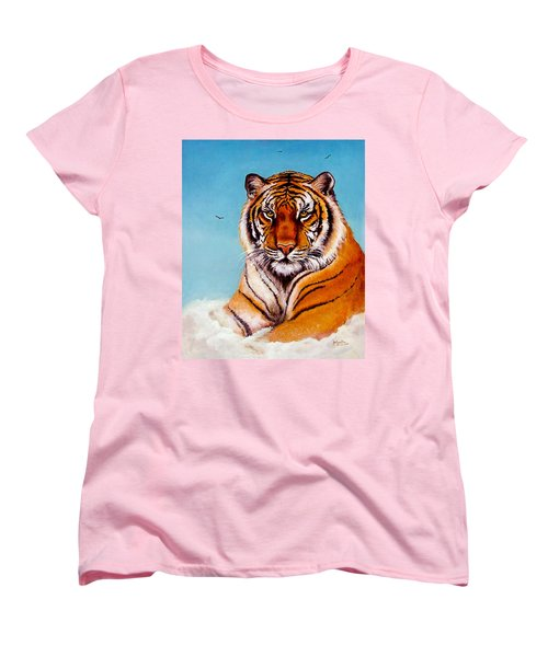 Women's T-Shirt (Standard Cut) featuring the painting Siberian King Tiger by Bob and Nadine Johnston