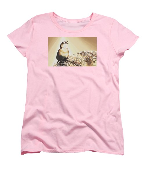Women's T-Shirt (Standard Cut) featuring the painting Singing My Heart Out by Sophia Schmierer