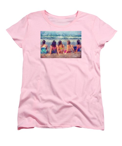 Sitting In The Surf Women's T-Shirt (Standard Cut) by Erika Weber