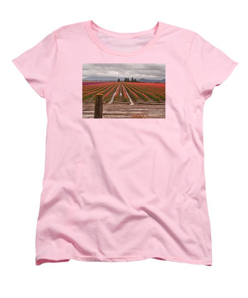 Women's T-Shirt (Standard Cut) featuring the photograph Skagit Valley Tulip Farmlands In Spring Storm Art Prints by Valerie Garner
