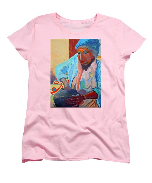 Women's T-Shirt (Standard Cut) featuring the painting Sky City - Marie by Francine Frank