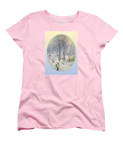 Women's T-Shirt (Standard Cut) featuring the painting Snow Day by Donna Tucker