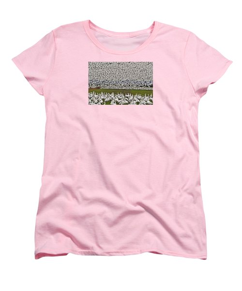 Women's T-Shirt (Standard Cut) featuring the photograph Snow Geese By The Thousands by Valerie Garner